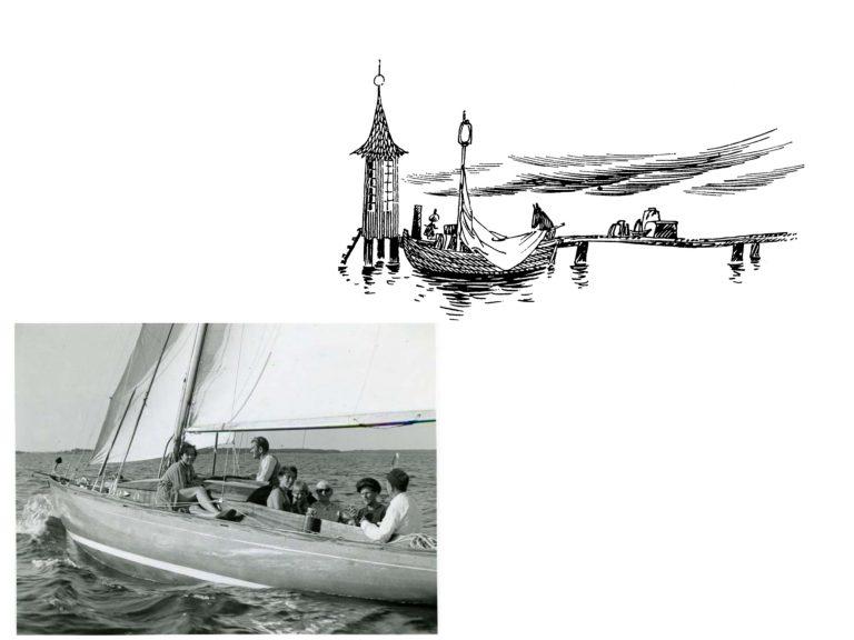 Julistekuva muumin kalastusmajasta sekä purjeveneestä